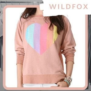 🆕 NWT WILDFOX Prism Heart Destroyed Sweater